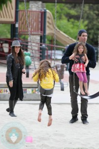 Soleil Moon Frye and Husband Jason Goldberg with their daughters Jagger and Poet