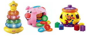 Fisher-Price Little Superstar Classic Stacker,  The Laugh 'n Learn Piggy Bank and the Fisher-Price Cookie Shape Surprise