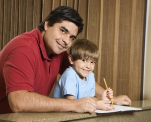 dad working with son