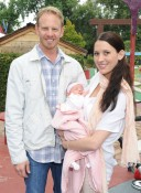 Actor Ian Ziering, wife Erin Ludwig, and their newborn Mia Ziering