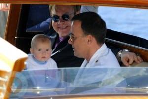 Elton John and David Furnish with son Zachary Jackson Levon