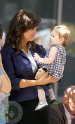 Tiffani Thiessen and daughter Harper Smith on the White Collar set