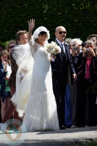 Lily Allen and her father on her wedding day