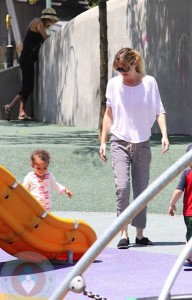 Ellen Pompeo with daughter Stella Luna Ivery at the park in NYC