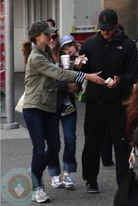 Keri Russell and her family in April shopping in Vancouver