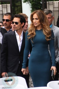 Marc Anthony and  Jennifer Lopez attend the ceremony to award Simon Fuller Walk of fame star