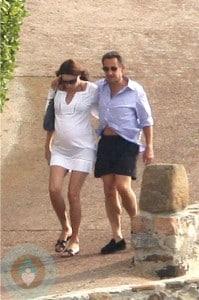 Nicolas Sarkozy & a pregnant Carla Bruni-Sarkozy