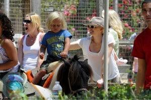 Gwen Stefani with son Zuma Rossdale at Underwood Farms in LA