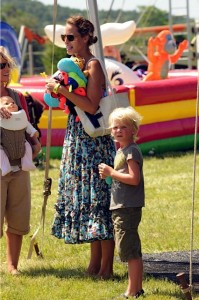 Christy Turlington with her son Finn at Super Saturday 14
