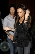 A pregnant Victoria Beckham out for dinner with husband David