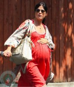 A very pregnant Selma Blair visiting the doctors