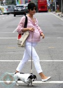 A very pregnant Selma Blair out with her dog