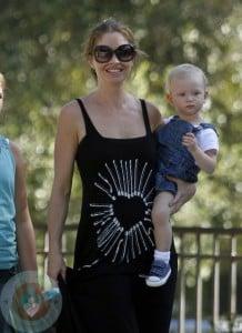A pregnant Rebecca Gayheart with daughter Billie Dane