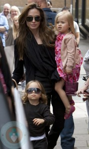Angelina Jolie with twins Vivienne and Knox