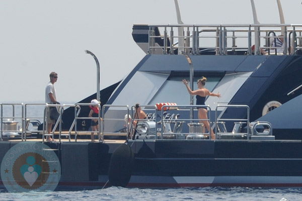Jessica Capshaw And Christopher Gavigan On A Yacht