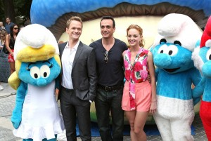 Neil Patrick Harris, Hank Azaria and Jayma Mays attend the New York Smurf Week kick off ceremony at Smurfs Village at Merchant's Gate