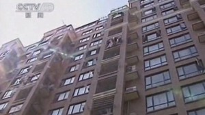 The apartment building the toddler fell from