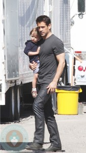 Colin Farrell and his son Henry in Toronto, ON
