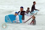 David Beckham Boogie Boards with his son Brooklyn & Romeo