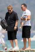 Elton John and David Furnish with son Zachary in St