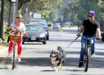 Hilary Duff and Mike Comrie biking with their dogs in Malibu