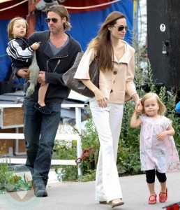 Brad Pitt and Angelina Jolie with their twins Maddox and Vivienne
