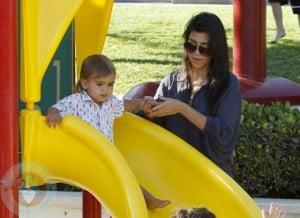 Kourtney Kardashian with son Mason in NYC