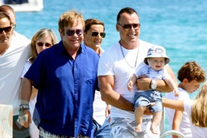Elton John & David Furnish with Zachary in St. Tropez