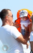 David Furnish with son Zachary in St