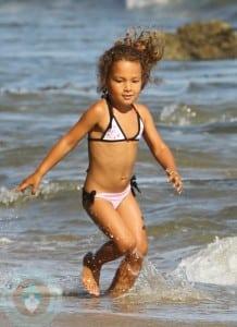 Nahla Aubry on the beach in Malibu