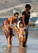 Halle Berry and daughter Nahla on the beach in Malibu