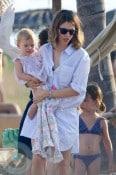 Sofia Coppola with daughters Cosmina and Romy (blue bikini)