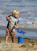 Zuma Rossdale at the beach in Malibu