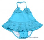 Kate Mack Infant Girls Aqua Blue Ruffled Halter Swim Suit