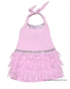 Kate Mac Girls Pink Poolside Princess Bling Halter Dresses