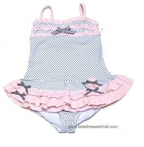 Katie Mac Girls Black Pretty Polka Dots / Pink Trim Two Piece Swimsuit