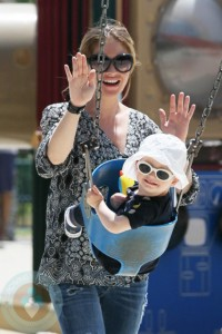 A pregnant Rebecca Gayheart and daughter Billie at the park in LA