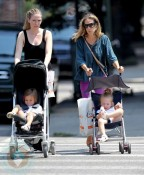 Sarah Jessica Parker with daughers Tabitha and Marion out in Soho