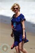 Pregnant January Jones at the beach in Malibu