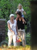 Mirka Federer with one of her twins Playing in Central Park