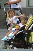 Charlene and Myla Federer riding in their custom bugaboo bees!