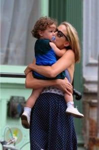 Leelee Sobieski and daughter Louisiana in Tribeca