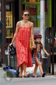 Maggie Gyllenhaal and daughter Ramona in Brooklyn