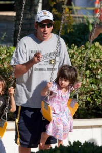 Adam Sandler at the park with his daughter Sunny