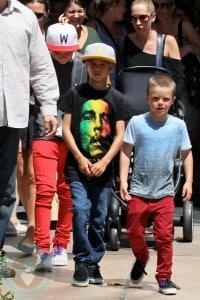 Brooklyn, Romeo and Cruz Beckham shopping at the Grove