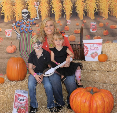 alison sweeney was spotted out at mr  bones pumpkin patch with her children