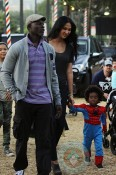 Djimon Hounsou & Kimora Lee Simmons with son Kenzo at Mr Bones