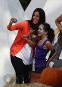 Soleil Moon Frye with daughter Poet at Mr. Bones Pumpkin Patch