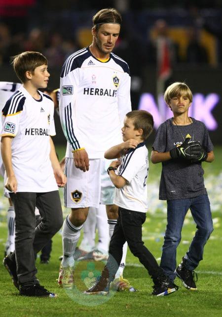 Italian Boy Name: David Beckham With His Boys Brooklyn, Romeo And Cruz