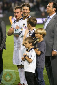 David Beckham with his boys Brooklyn, Romeo and Cruz